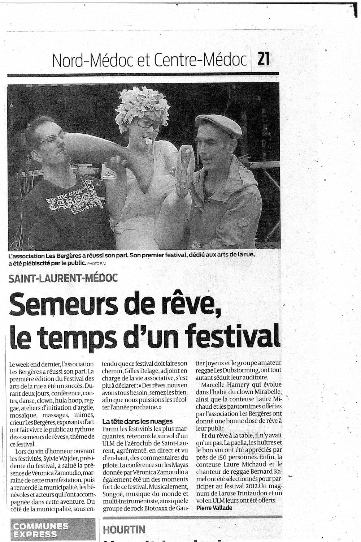 Article de Presse Sud Ouest 2011 - Festival semeurs de rêves - Association culturelle Les Bergères