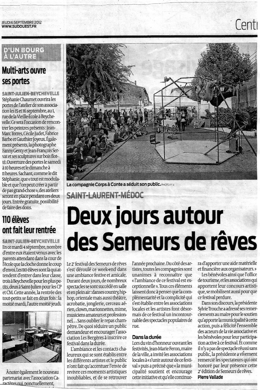 Article de Presse Sud Ouest 2012 - Festival semeurs de rêves - Association culturelle Les Bergères